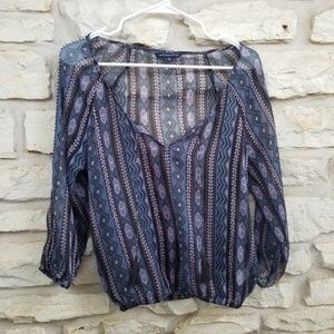 American Eagle Outfitters Small Boho Sheer Top